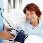 Elderly Female Patient Wearing a Blood Pressure Gauge